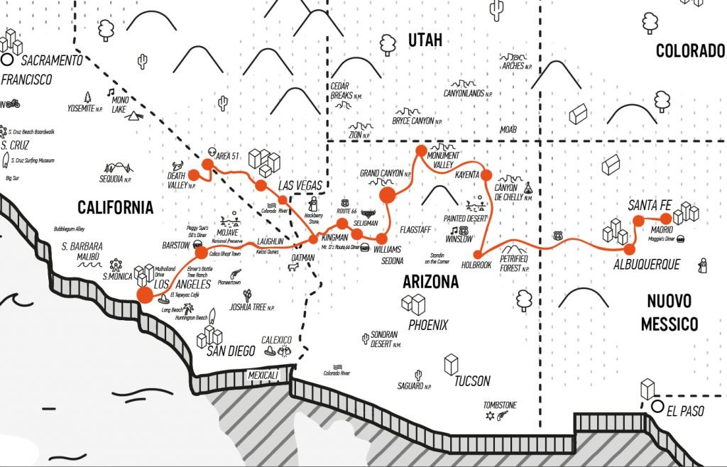 """<a href=""""https://www.americainmoto.it/i-nostri-viaggi/viaggi-be-twin/la-mitica-route-66-reverse-west"""" target=""""_blank"""" rel=""""noopener noreferrer"""">Viaggio Be-Twin® Di Gruppo Esclusivo Kanaloa Fly&Ride®</a>"""